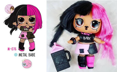 L.O.L. #Hairgoals Metal Babe doll with pink and black real hair