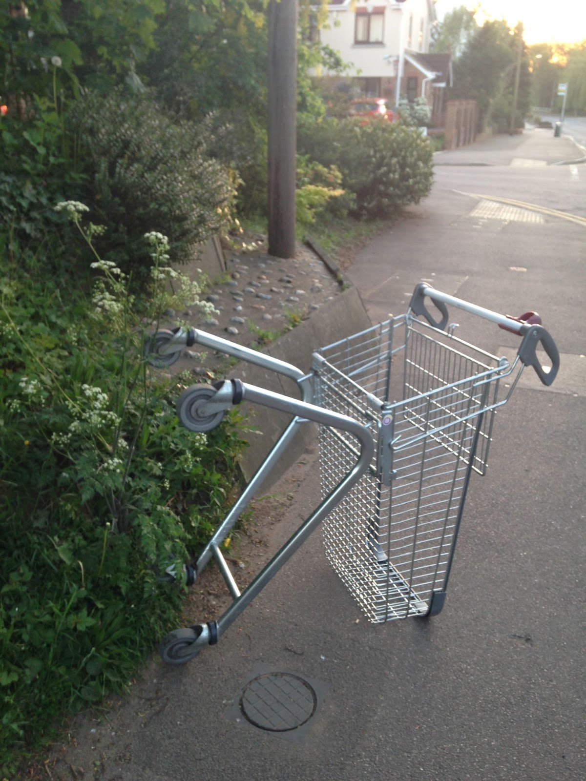 Upturned trolley on a pavement