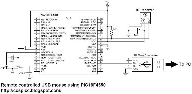 Remote controlled USB mouse using PIC18F4550 circuit