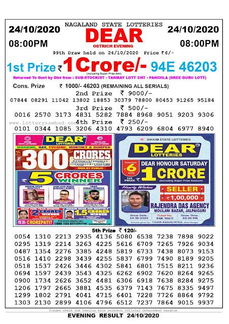 Lottery Sambad 24-10-2020, Lottery Sambad 8 pm results, Nagaland Lottery Results, Lottery Sambad Today Results Live, Night results