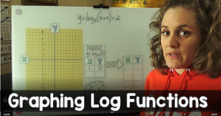 In this post is a graphing logarithmic functions step by step video and a free graphing logarithm functions cheat sheet. The cheat sheet can be given to students for their notebooks or enlarged to create an anchor chart for your wall.