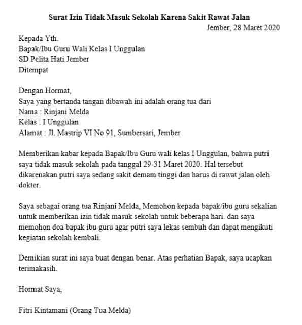 Contoh Surat Izin Sakit (via: 99.co)