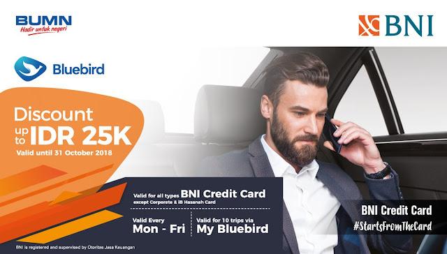 Bank BNI - Promo Diskon s.d 25 Ribu Pakai Taxi Bluebird / Silverbird (s.d 31 Okt 2018)