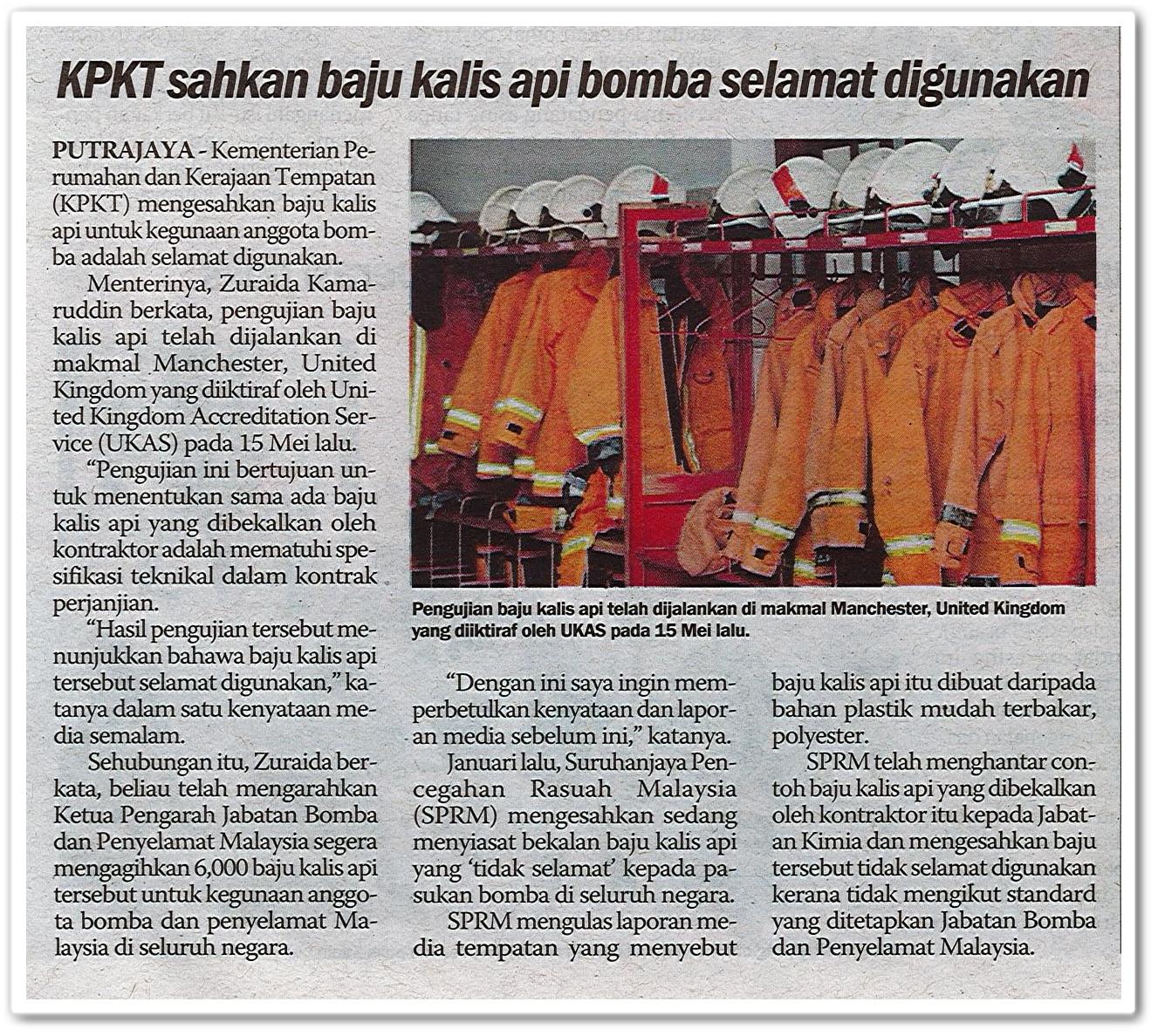 KPKT sahkan baju kalis api bomba selamat digunakan - Keratan akhbar Sinar Harian 26 Mei 2019