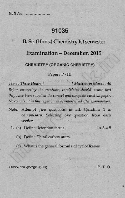 Download Organic Chemistry - December 2015 Question paper - bsc hons chemistry 1st sem paper 3 - for free