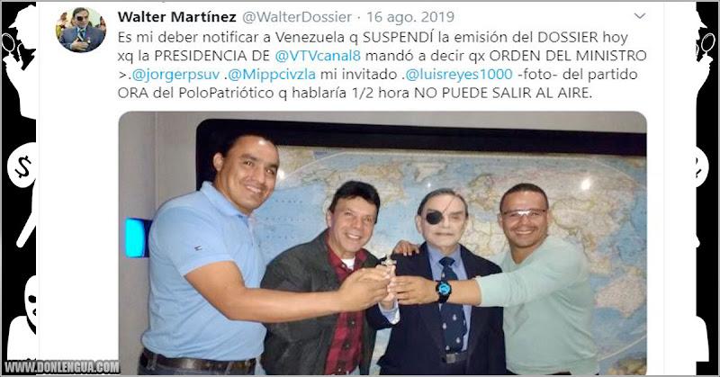 """Walter """"Solounojo"""" Martinez sacado del aire en VTV por orden de Jorge Rodriguez"""