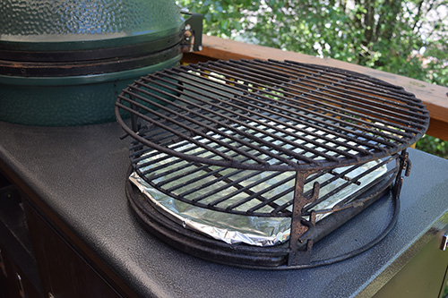 Adjustable Rig set up for the Big Green Egg on a Challenger Designs Torch grill cart