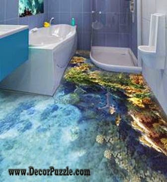 3d bathroom floor murals designs, modern self-leveling floors for bathroom flooring ideas