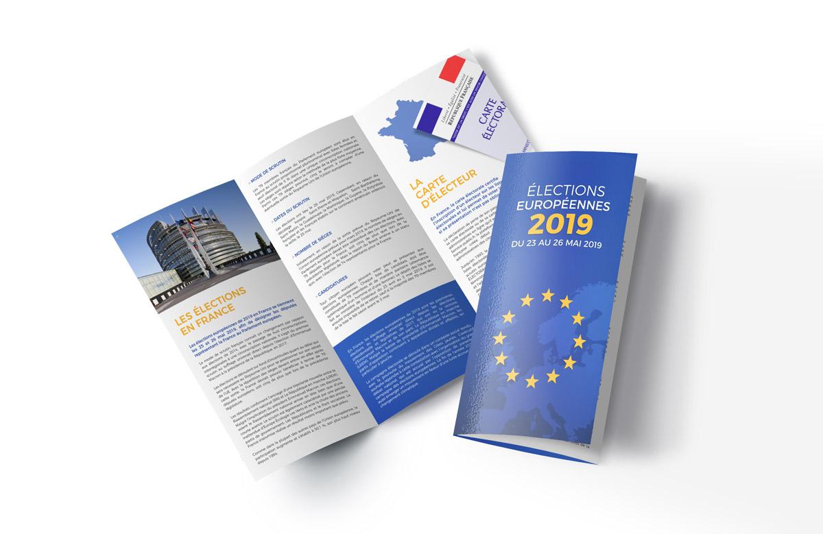 Création dépliant 3 volets, élections européennes 2019