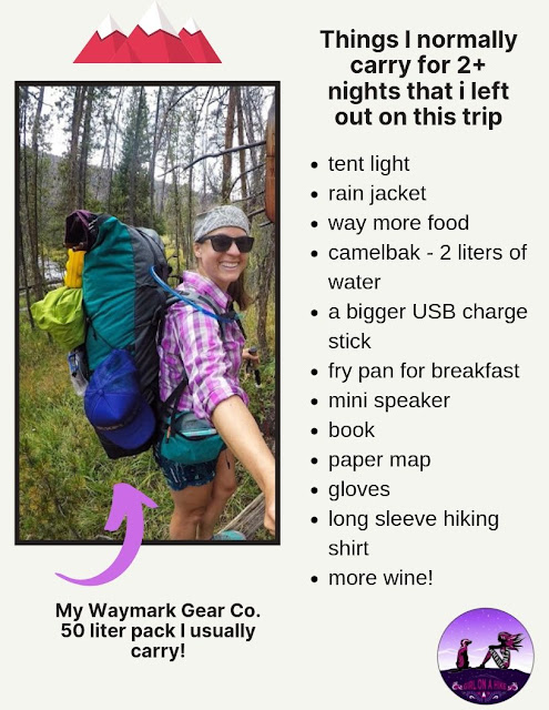 Things I normally carry for 2+ night that I left out on this trip