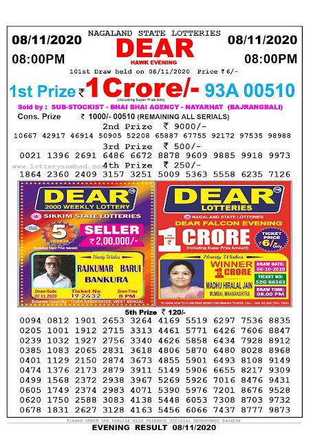 Lottery Sambad 08-11-2020 Today Results 8:00 pm, Nagaland State Lottery Sambad Today Result 8 pm, Sambad Lottery, Lottery Sambad Live
