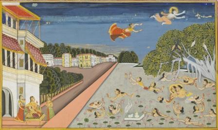 Jallandharnath_and_the_Princess_Padmini_fly_over_King_Padam's_palace,_folio_from_the_Suraj_Prakash,_Amardas_Bhatti,_1830_(Samvat_1887)