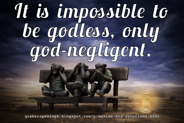 """An image of a statue of the """"three wise monkeys"""" (hear no evil, see no evil, speak no evil) sat on a bench with a background of a barren landscape and a cloudy sky. Text overlay reads """"It is impossible to godless, only god-negligent."""""""