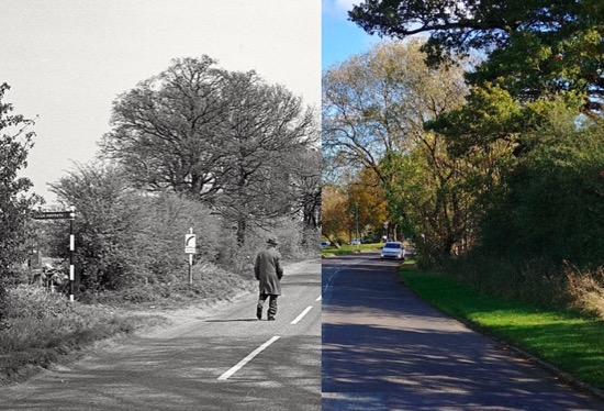 Man walking along Hawkshead Road towards Little Heath  Mix of photographs by R Kingdon (1967) and the North Mymms History Project (2018)  Montage by North Mymms History Project, released under Creative Commons