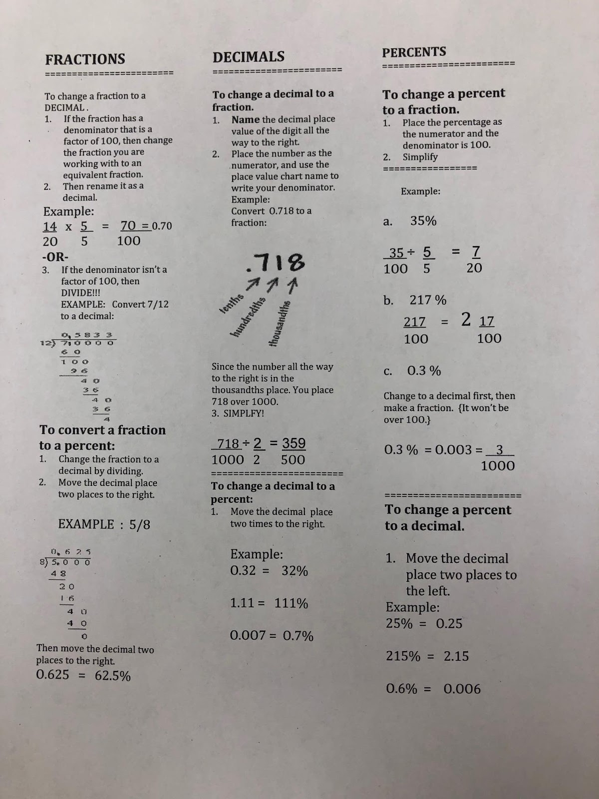 Mrs Negron 6th Grade Math Class Conversion Sheet