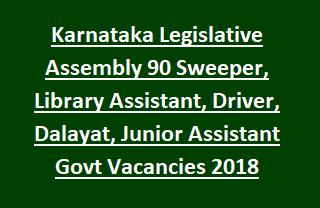 Karnataka Legislative Assembly Recruitment of 90 Sweeper, Library Assistant, Driver, Dalayat, Junior Assistant Govt Vacancies 2018