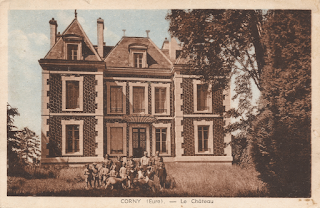 carte postale ancienne 1930 château corny eure
