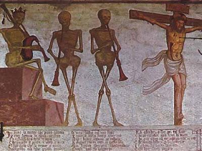 Morte coronata: affresco di Simone Baschenis da Averaria nella chiesa di San Virgilio a Pinzolo (TN)