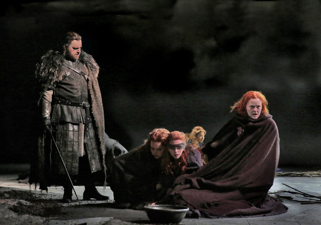 clear the stage for the three witches in macbeth Different stages of development in macbeth during this stage a strong, 'noble' warrior weak by tempting him a scene which shows this is when the three witches meet macbeth and banquo on the heath, they predict.