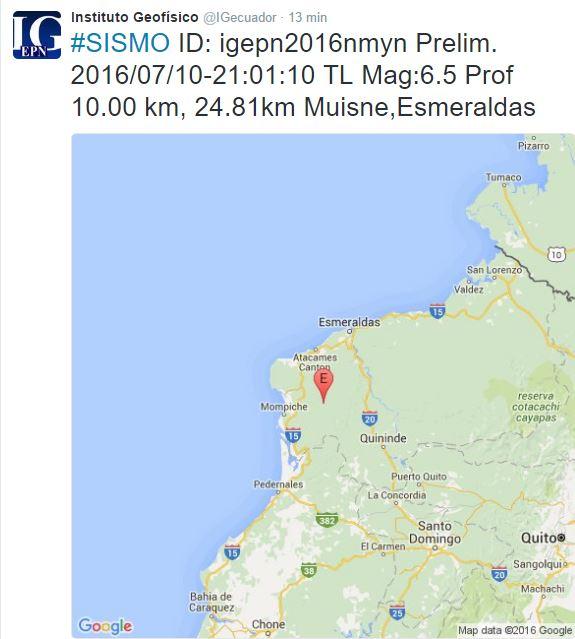 temblor en Ecuador de hoy