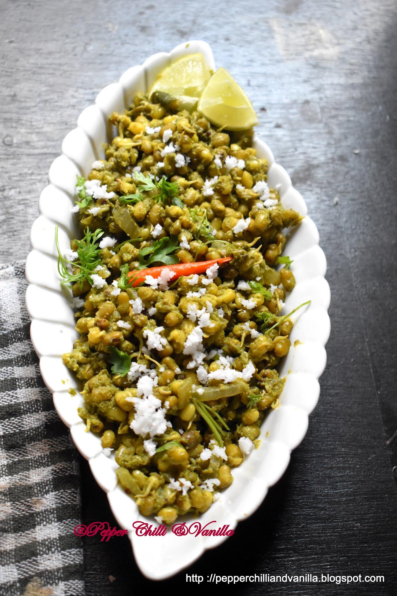 mung in green masala,moong green masala