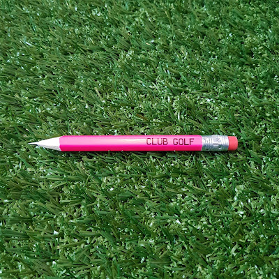 A pencil from the CLUB GOLF crazy golf pop-up at Coal Drops Yard in King's Cross, London