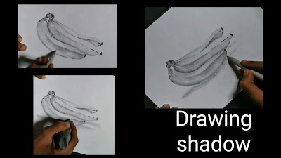 How to draw shadow texture for banana fruits, easy and simple banana drawing, how to draw banana fruits, simple fruits drawing,