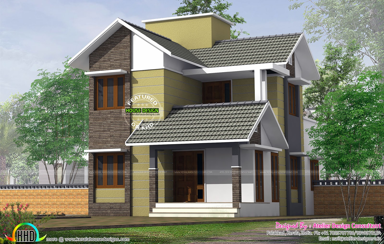 Small slope roof double storied house kerala home design for Slope home design