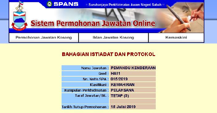 Jawatan Kosong Kerajaan Negeri Sabah Pemandu Kenderaan Gred H11 Jawatan Kosong Terkini Negeri Sabah