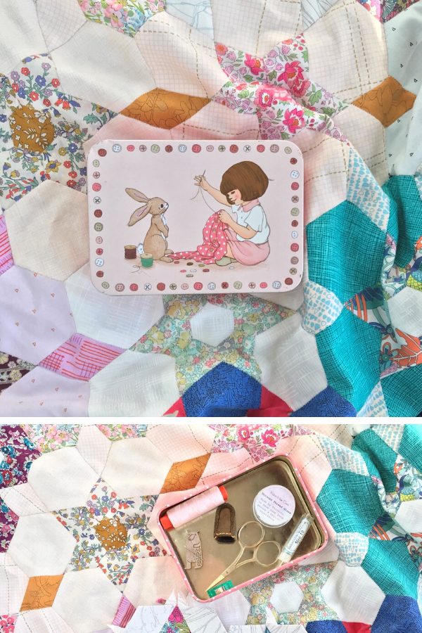 Ange's Belle & Boo sewing tin on EPP quilt | What's in your sewing bag? | Shannon Fraser Designs #epp #sewingkit