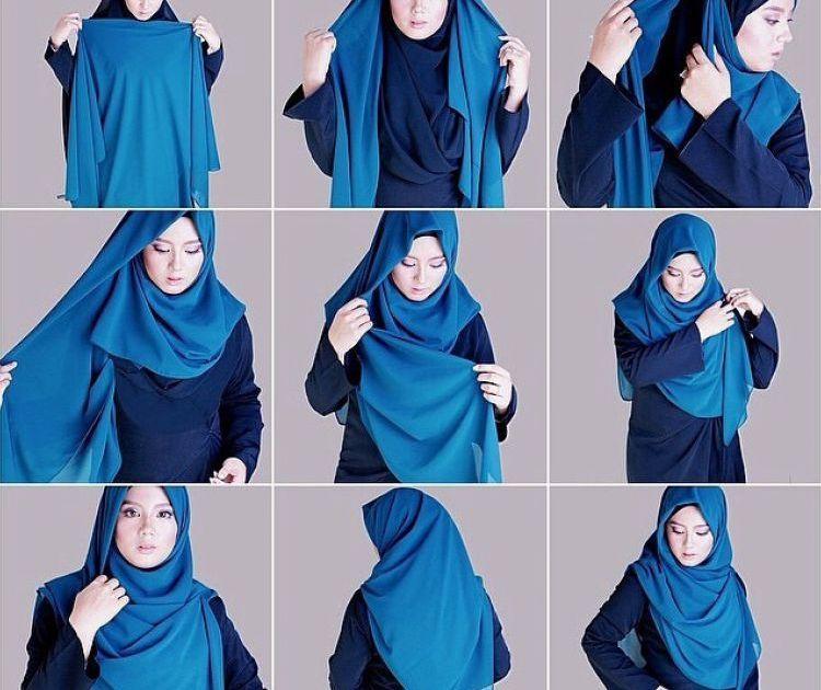 cara memakai hijab segi empat menutup dada