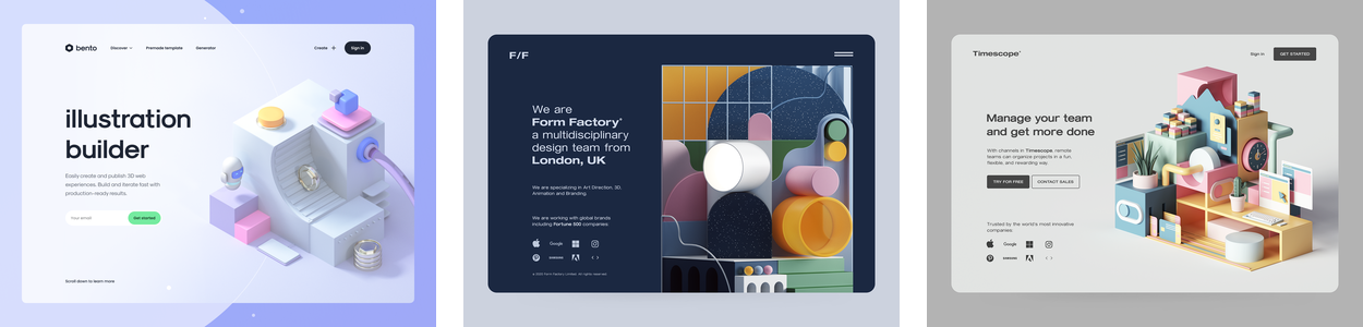 three examples of the 3D elements web design trend