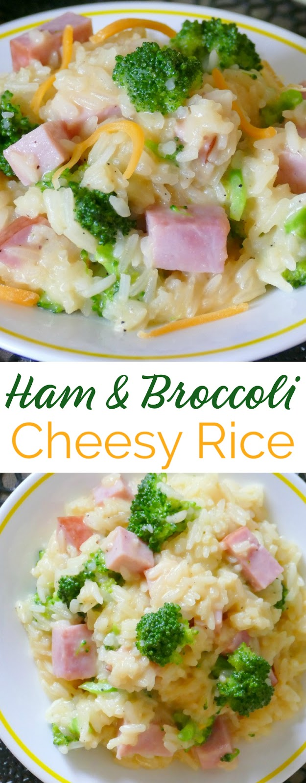 This ham cheesy broccoli rice dinner skillet is easy, delicious and one you'll want to add to your menu plan! Use any cheese you prefer and great for using leftover Easter or Christmas ham! Ready in less than 30 minutes which makes it perfect for a simple and affordable weeknight meal!