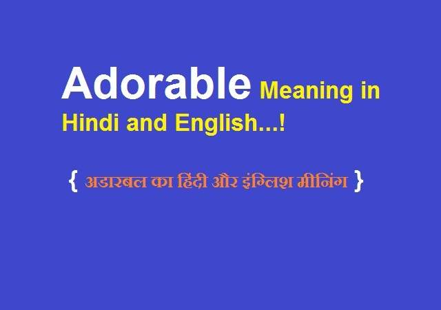 Adorable Meaning in Hindi and English