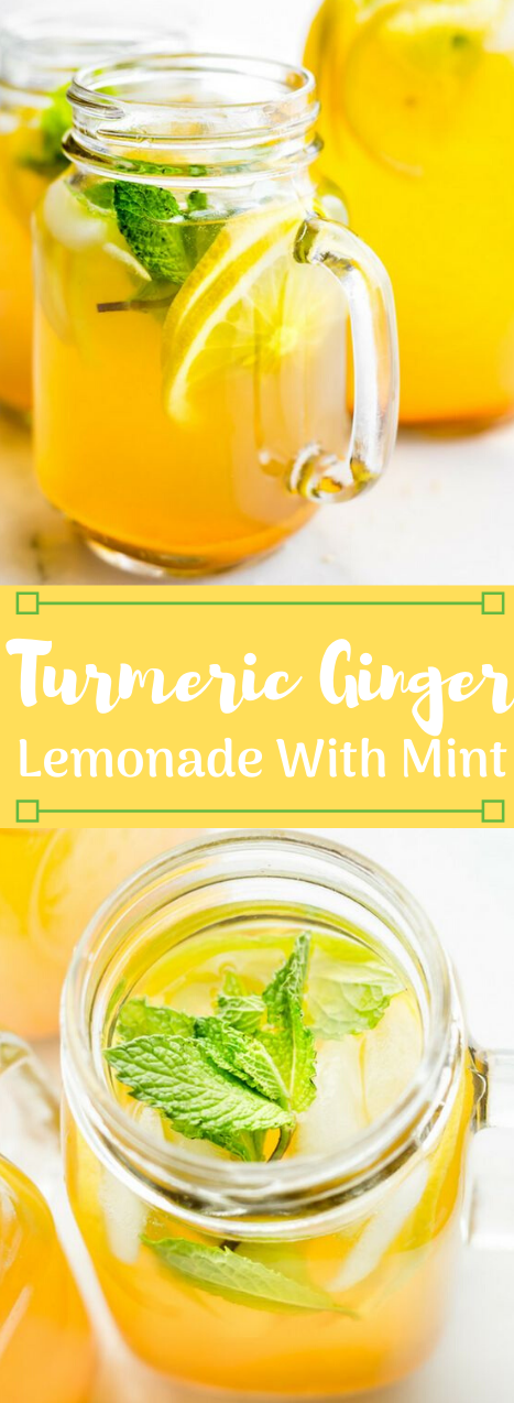 Zingy Turmeric Ginger Lemonade with Mint #healthydrink #party #smoothie #recipes #easy