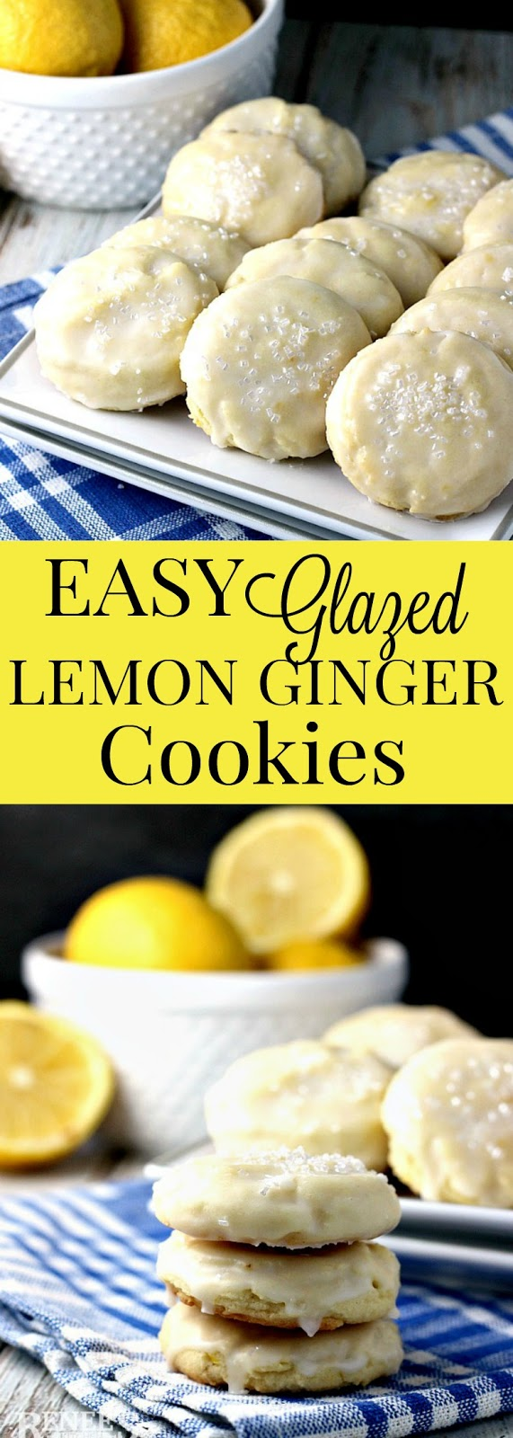 Easy Glazed Lemon Ginger Cookies | Renee's Kitchen Adventures - easy dessert cookie recipe for lemony drop cookies studded with candied ginger and glazed with a lemon icing