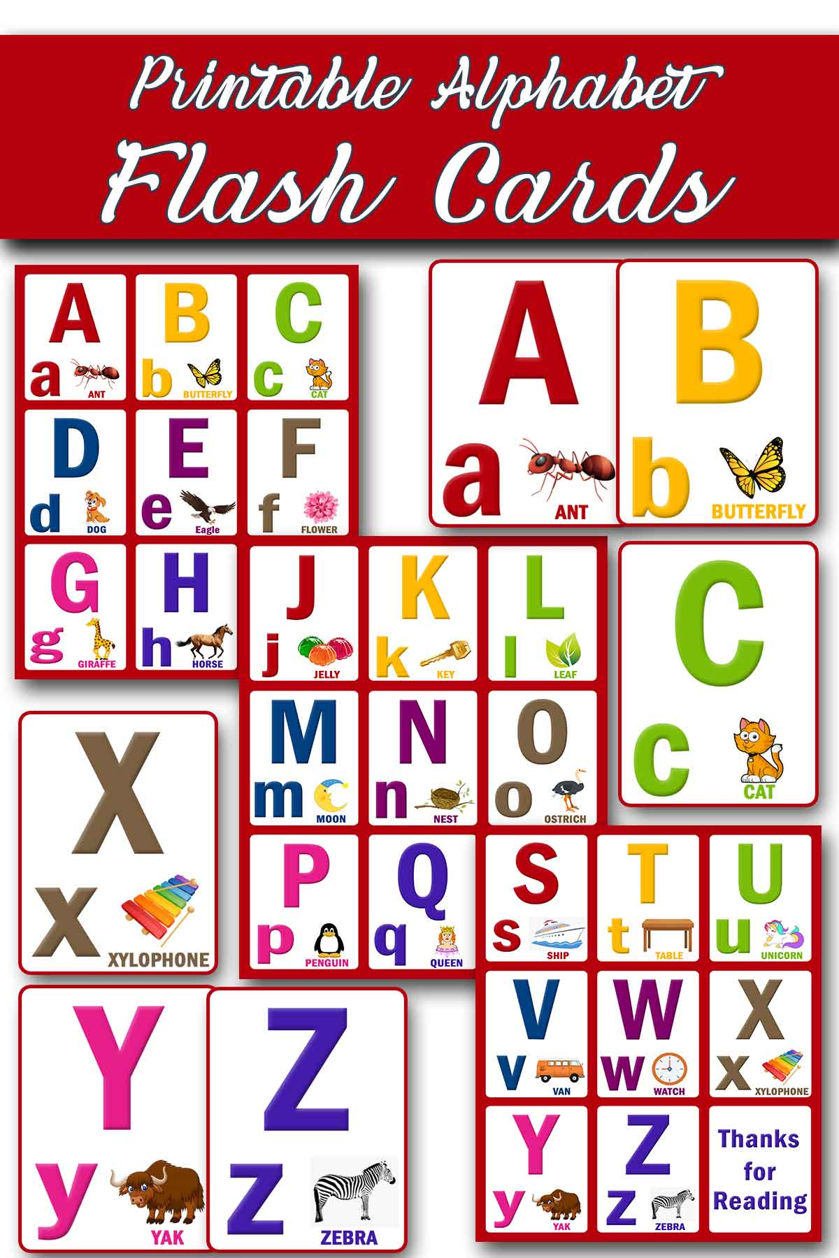 alphabet flash cards for kids printable