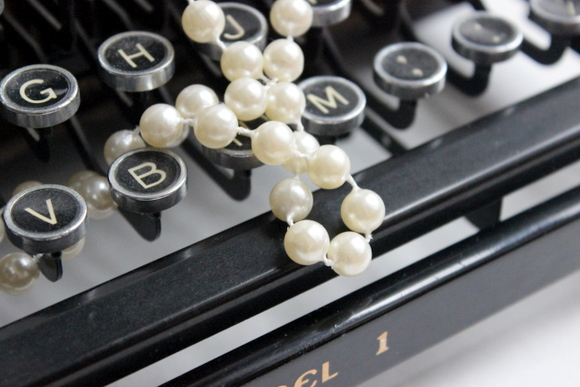 typewriter and pearls