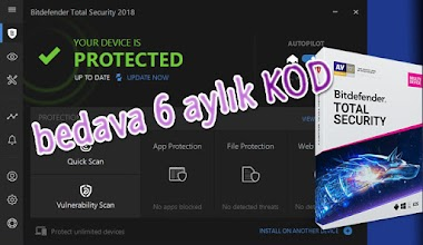 Bedava 6 aylık Bitdefender Total Security antivirüs