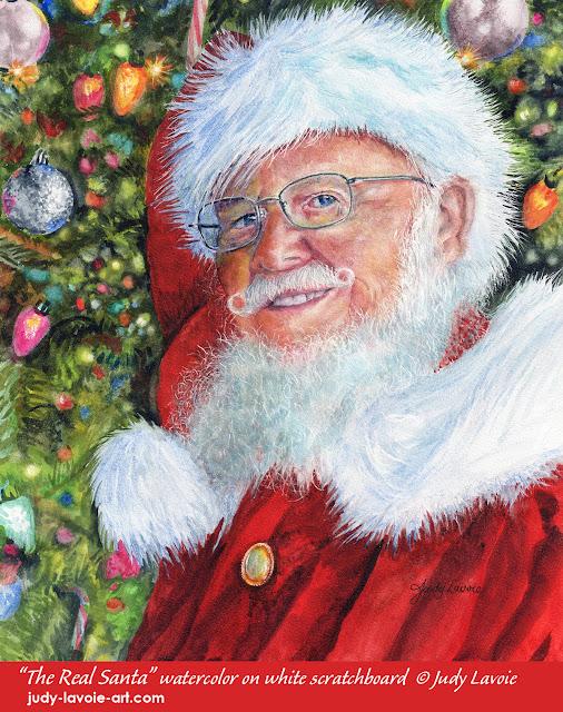 """The Real Santa"" an original watercolor © Judy Lavoie 2019"