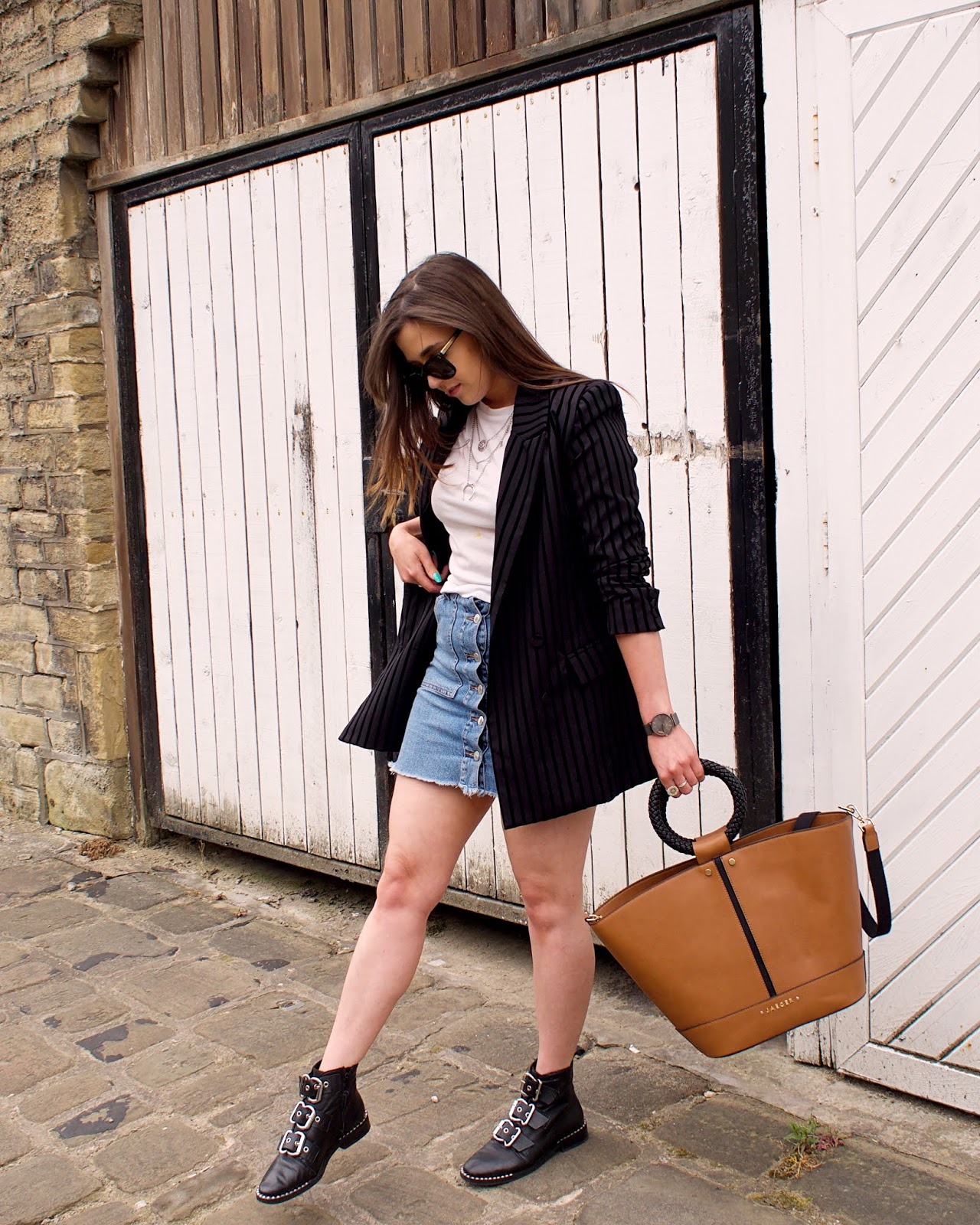 denim skirt and ankle boots