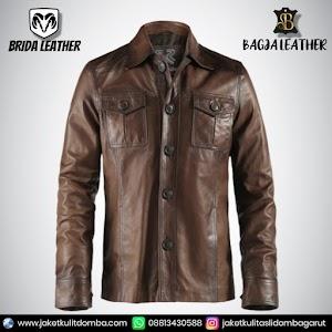 Jual Jaket Kulit Asli Garut Pria Domba Original Brida Leather B10 SAFARI   WA 08813430588