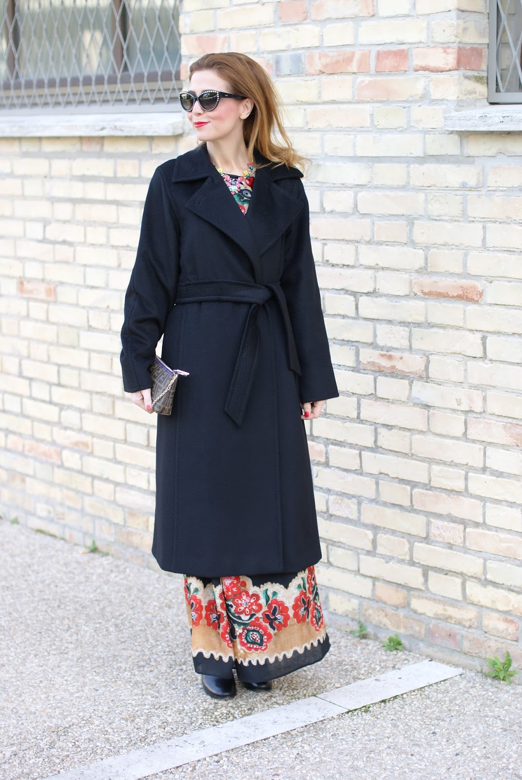Max Mara Manuela camel coat, Red Valentino floral dress and Fendi Zucca clutch on Fashion and Cookies fashion blog, fashion blogger style