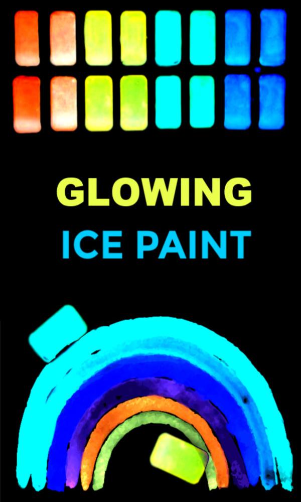 Make your own glowing ice chalk recipe for kids #icechalk #chalkpaint #frozenchalk #glowinthedarkpaint #growingajeweledrose #activitiesforkids