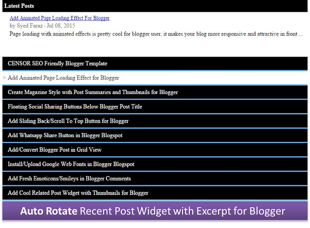 recent post widget for blogger