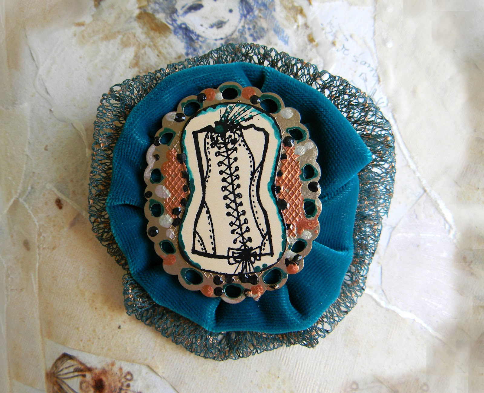 """My Sexy Corset"" Handmade Brooch Pin Original Fine Art Drawing"