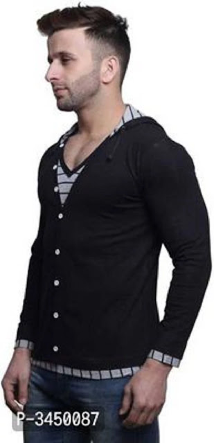 Men's Black Cotton Hooded Tees