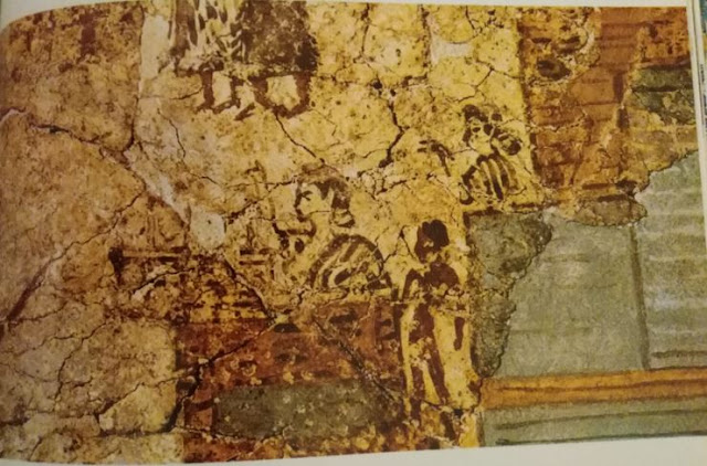 Akrotiri - Woman Standing in Balcony with Horns of Consecration