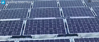 floating solar power plant in China - close up