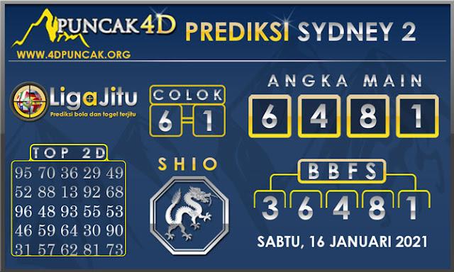 PREDIKSI TOGEL SYDNEY2 PUNCAK4D 16 JANUARI 2021
